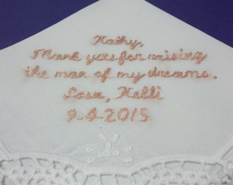 personalized mother of groom wedding handkerchief, hand embroidered, raising the man of my dreams, wedding favor, wedding colors welcome
