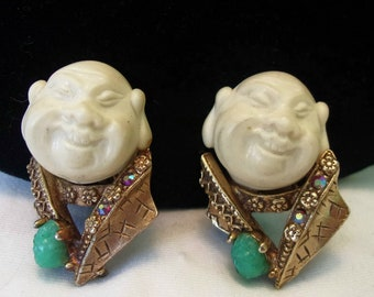 HAR Brooch Vintage Smiling Laughing Buddha Faux Jade Glass Rhinestone Earrings