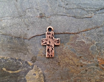 Hammered Rustic Cross Charm Copper N14,rustic copper cross,hammered cross charm,copper cross charm,ancient cross charm,rustic cross charm