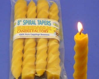 "Beeswax Candles, Four Pack of 8"" Beeswax Tapers, Spiral Taper Candles, Handmade Beeswax Candles, Canadian Beeswax, Spiral Candles"