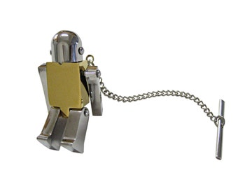 Golden Chrome Robot Tie Tack