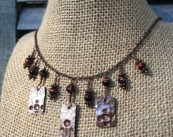 Hand-stamped and Hammered Recycled Copper Necklace with Tigers Eye Beads
