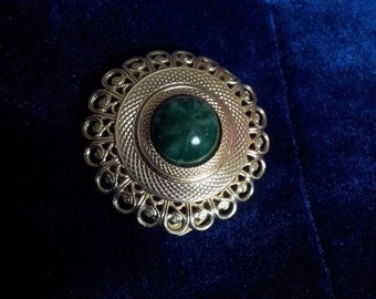 Vintage Silver and Malachite Scarf Clip