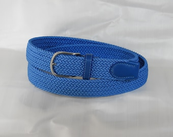 Braided elastic belt with inserts in genuine leather for men. Various colors height 3.5 cm true elastic Italian reinforced nickel buckle