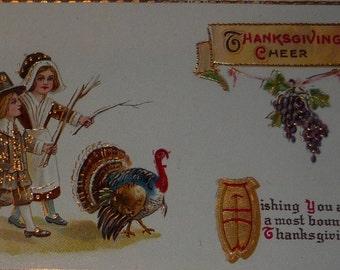 NEW Listing**Pilgrims Following Turkey Antique Gel Thanksgiving Postcard