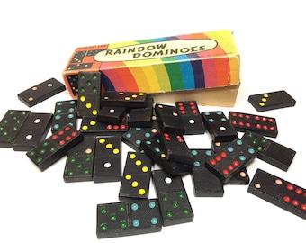 Vintage Dominoes, Rainbow Dominoes Chad Valley Made In England Dominos