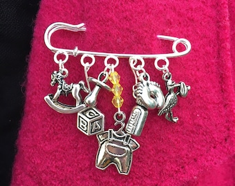 New Baby kilt pin brooch ~ Unique present for new mum or grandma ~ Customised gift ~ Boy, Girl, Twins, Triplets ~ Silver plated x