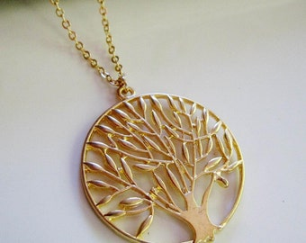 Tree of Life Necklace, Gold Pendant, Woodland Necklace, Modern, Gold Branch, Everyday Woman's Jewelry