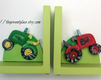 Hand painted tractor bookends,tractors,farm theme,boys bookends,childrens bookends,kids bookends,personalized bookends,tractor bookends