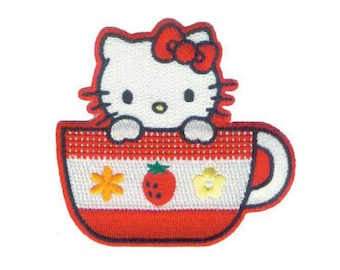 Hello Kitty Iron On Applique, Hello Kitty Iron On Patch, Hello Kitty Applique, Teacup Patch, Cute Patch, Kids Patch, Embroidered Patch