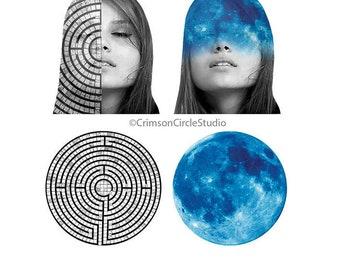 DIGITAL COLLAGE 5x7, black and white fashion portrait, surrealist, cosmic, lunar imagery, fantasy artwork, digital montage, 'Mind games'