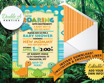 Dinosaur Baby Shower Invitation - Boy Baby shower ideas, Retro patterns, blue and green, Self Editable Invitation, Instant Download