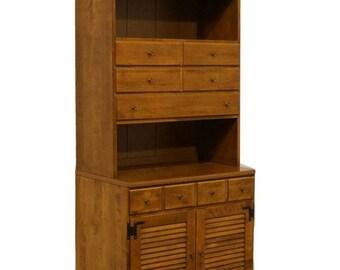 ETHAN ALLEN Heirloom Nutmeg Maple 30u2033 Crp Shutter Cabinet W/ Bookcase  10 4515P