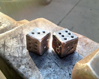 """Six Sided Metal Gaming Dice D6 3/4"""" (2 dice) - Hand Forged, Steel Dice, Metal Dice, Gift Dice, Gaming Gifts, Forged Dice"""