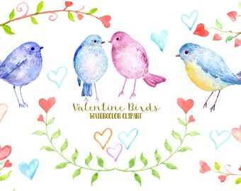 Watercolor Clipart Valentine Birds, tree branch with red hearts, blue and pink birds, heart doodles, instant download, valentine clipart