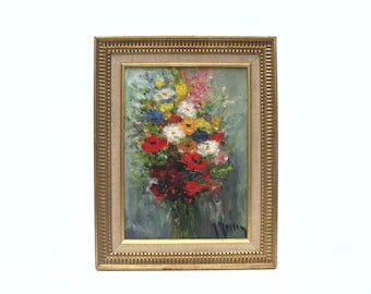 French vintage Oil Painting on Canvas Floral bouquet  signed in Gilded beaded wooden frame with linen mount