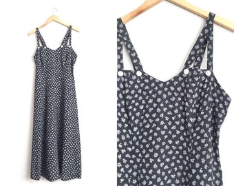Size M // ROSE PRINT MAXI Dress // Black & White - Cut-Out Straps - Sweetheart Bust - Romantic - Grunge - Vintage '80s.