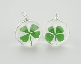 1pc 20mm Four Leaf Clover Round Glass Pendants Ball Glass Pendants GH004