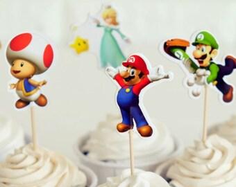 READY To SHIP Super Mario Inspired Cupcake Toppers, Toppers, Picks, Cake Toppers, Cake Topper Pick, Cupcake Picks, Birthday