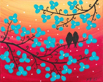 """Love Birds painting Turquoise flowers wall art Impasto Palette Knife Acrylic painting on canvas gift for her"""" Sunbath"""" by qiqigallery"""