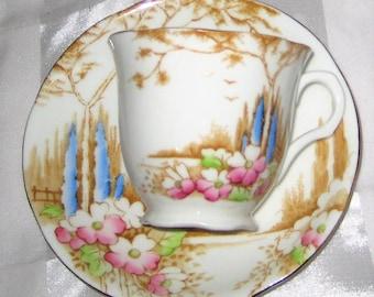 Vintage Melba China - Wildflower Scene - Teacup Set