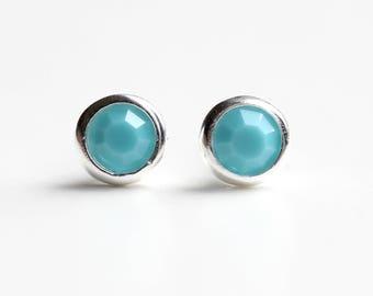 Turquoise Stud Earrings Sterling Silver - Swarovski Crystal Turquoise  Stud Earrings - December Birthstone Turquoise  Earrings - B89