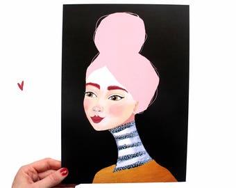 "A4 Print van Schilderij Portret Vrouw ''Gouden Dromen"" Gezicht Illustratie Kunst 340 A4 Acrylverf Modern Poster decoratie Goud Roze Gezicht"
