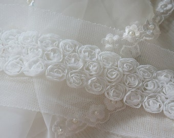 """2.5"""" (6.5cm) voile flower sewing applique lace trim 1yd15""""  and  24"""""""