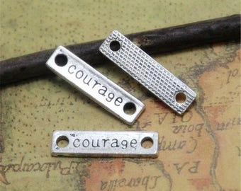 20pcs silver tone Rectangle courage Charms pendants  courage Tag Charm Connector 6x23mm  ASD0224