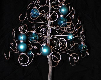 Christmas Tree Ornament Display Holder Silver Wire Holiday Tree Centerpiece-Made When Ordered-LARGE