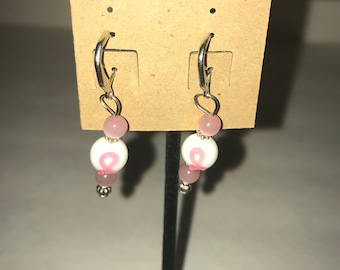 Handmade dangle earrings Breast Cancer Awareness Pink Ribbon