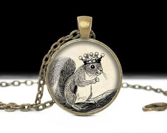Squirrel Necklace Squirrel Pendant Wearable Art Jewelry Animal Necklace Royal Squirrel Jewelry