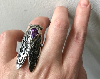 Amethyst and Sterling Silver- The Smoke Wing Cicada Ring