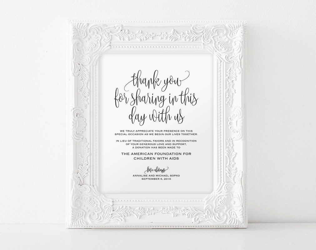 In lieu of wedding favors sign wedding donation sign charity zoom stopboris Image collections