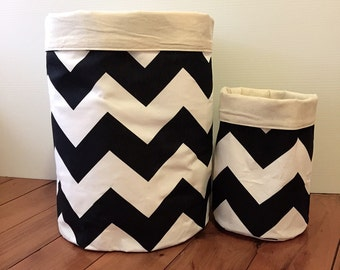 STOCK SALE - GIANT monochrome chevron Storage Baskets
