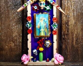 Holy Family Miniature Nicho / Day-of-the-Dead Altar / Folk Art Catholic Shrine / Dia de los Muertos Decor / Sagrada Familia Adornment