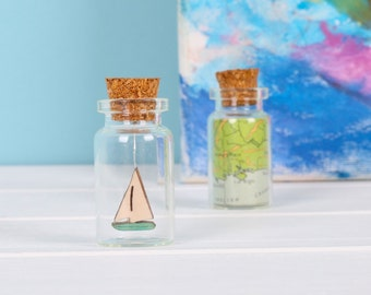 Personalised Set Of Map And Boat Keepsake Bottles - boat lover gift - sailor gift - nautical gift - cufflink box gift for him