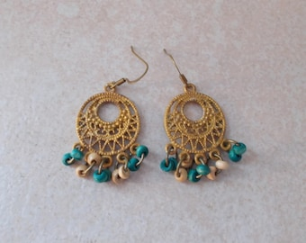 Hand Painted Patina Chandelier Earrings in Rustic Gold, Turquoise and Ivory with Antiqued Brass Findings Nickle Free Ear Wires