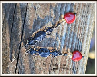 Art Deco Valentine Earrings bronze and glass handmade gift