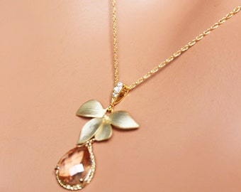 Crystal Peach Wedding Necklace,  Gold Flower and Crytal Drop Pendant,  Mother's Day Gift, Birthday Gift, Christmas Gift