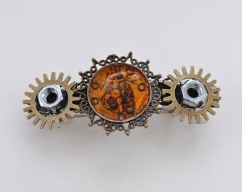 STEAMPUNK HAIR BARRETTE with mechanical heart beautiful hairpiece for halloween, black lace, gothic
