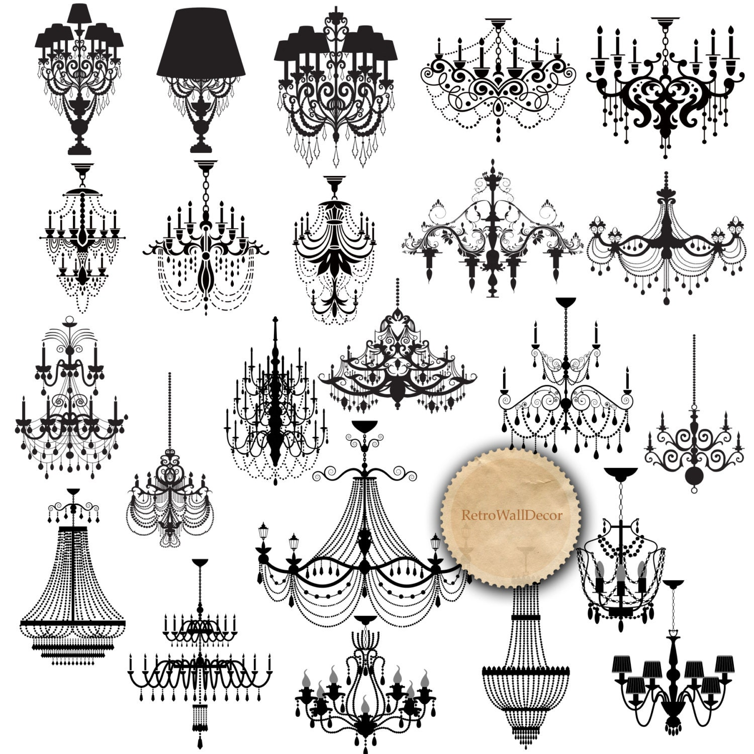 Chandelier Silhouette Clip Art Black Chandelier Wedding