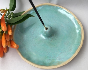 Vibrant hand built turquoise green ceramic stoneware incense holder