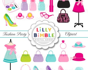 Fashion Party Clipart with Purses, Makeup, Jewelry, high heels, nail polish Digital Download Commercial Use
