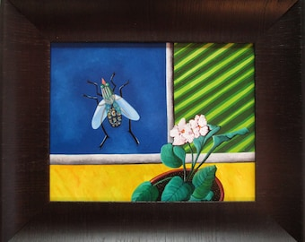 Trapped - Original Oil Painting on Wood Panel - Flower & Fly by Jane  Zednik