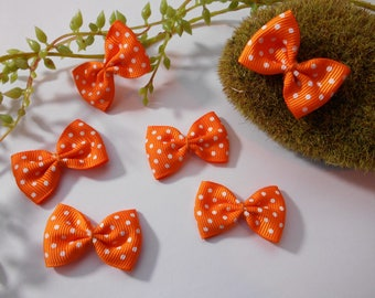6 bows with polka dots - orange - 4cm / 2.5 cm