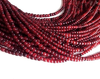 Red horn beads 4-5mm - eco friendly and natural horn beads (PN402)
