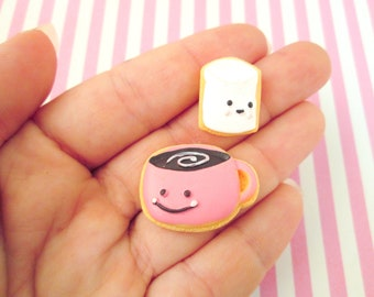 2 Hot Chocolate and Marshmallow Frosted Sugar Cookie Cabochons, #722