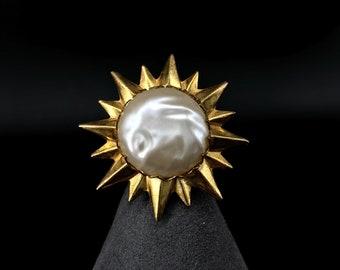 Baroque Sun Brooch Miriam Haskell SunBurst Pearl