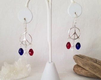 Red, White And Blue Peace Chandelier Sterling Silver Earrings